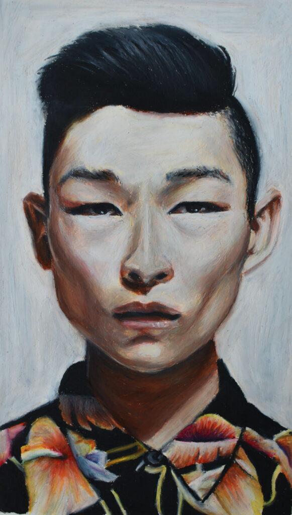 oil pastel portrait boy
