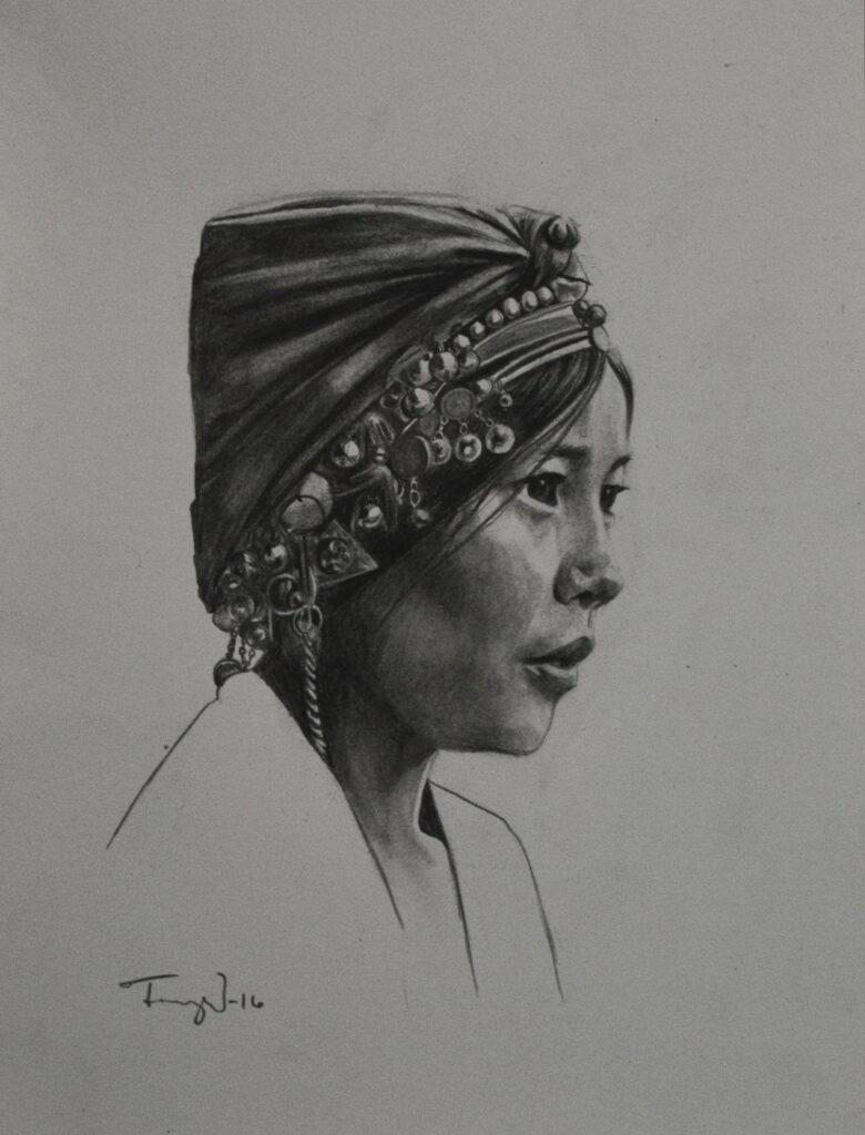 graphite portrait akha woman