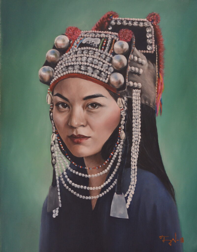 portrait of an akha woman, oil painting