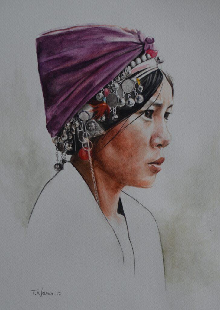 watercolor portrait akha woman